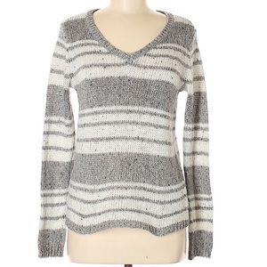 ST. JOHN'S BAY gray striped pullover sweater SZ M